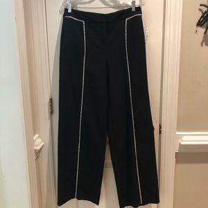 Alfani classic black wide legs pants, white piping